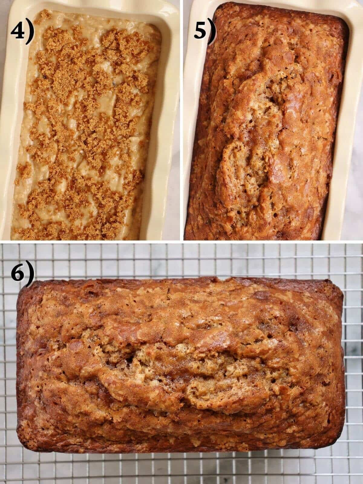 A loaf of banana bread before and after baking.