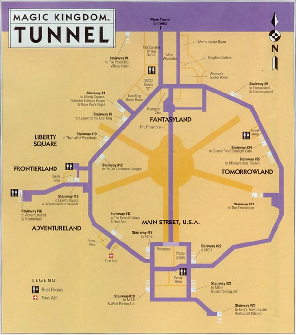 A map of the tunnels beneath the Magic Kingdom