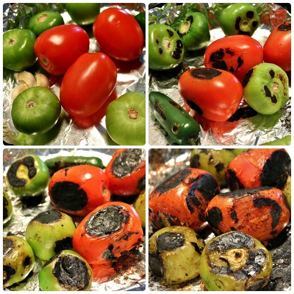 step by step photos of charring tomatoes, tomatillos, garlic, and a chile