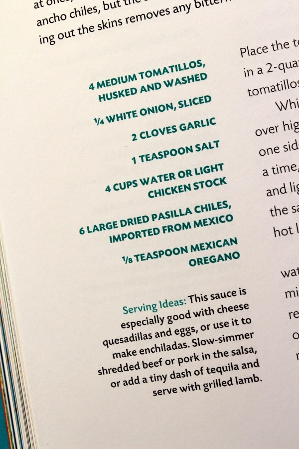 A close up of recipe text in a cookbook