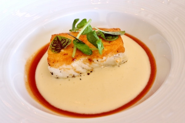 A piece fish with a crispy topping served over a white sauce on a plate