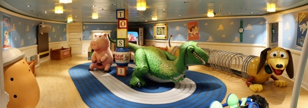 a wide view of a Toy Story themed playroom for children