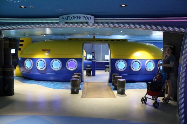 a submarine themed area for children to play in the Oceaneer\'s Club