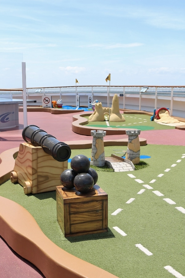 a mini golf course on a cruise ship