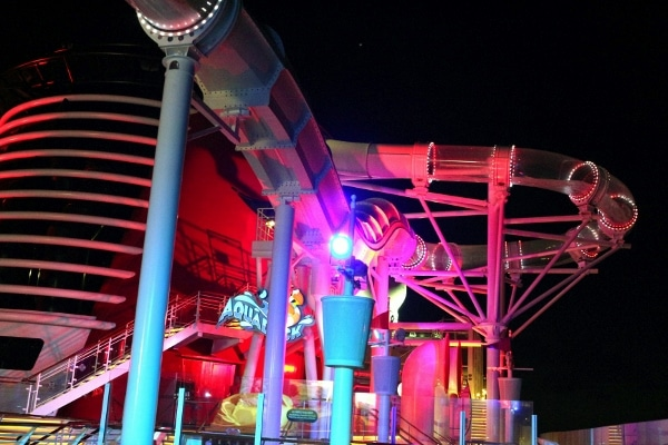 a nighttime view of the AquaDuck water coaster on the Disney Fantasy cruise ship