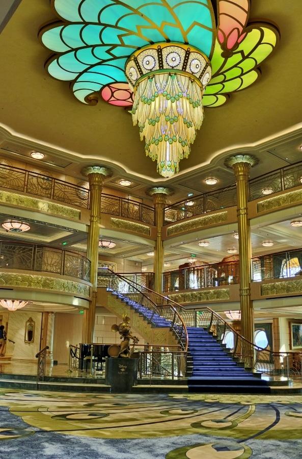a wide view of the Disney Fantasy lobby atrium