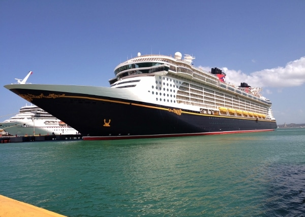 wide view of a Disney Cruise Line ship in the water