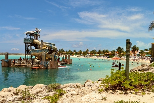 a view of a water slide on a Caribbean beach at Castaway Cay