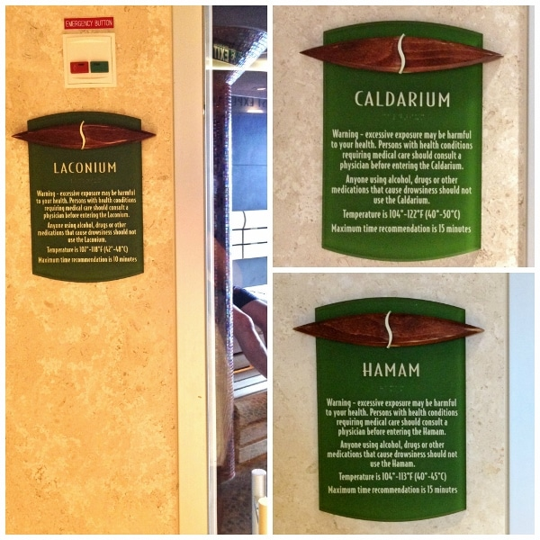 signs outside the various sauna rooms in a spa
