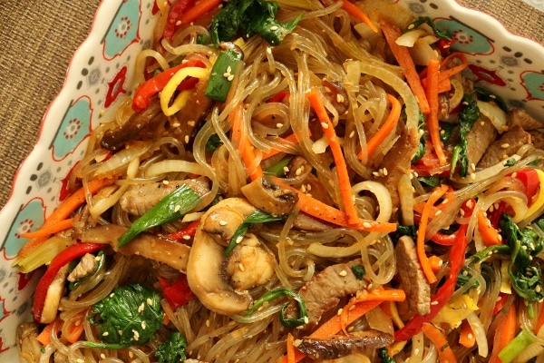 Japchae, Korean sweet potato noodles stir-fried with beef and vegetables