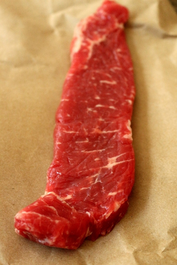 A piece of beef on brown paper