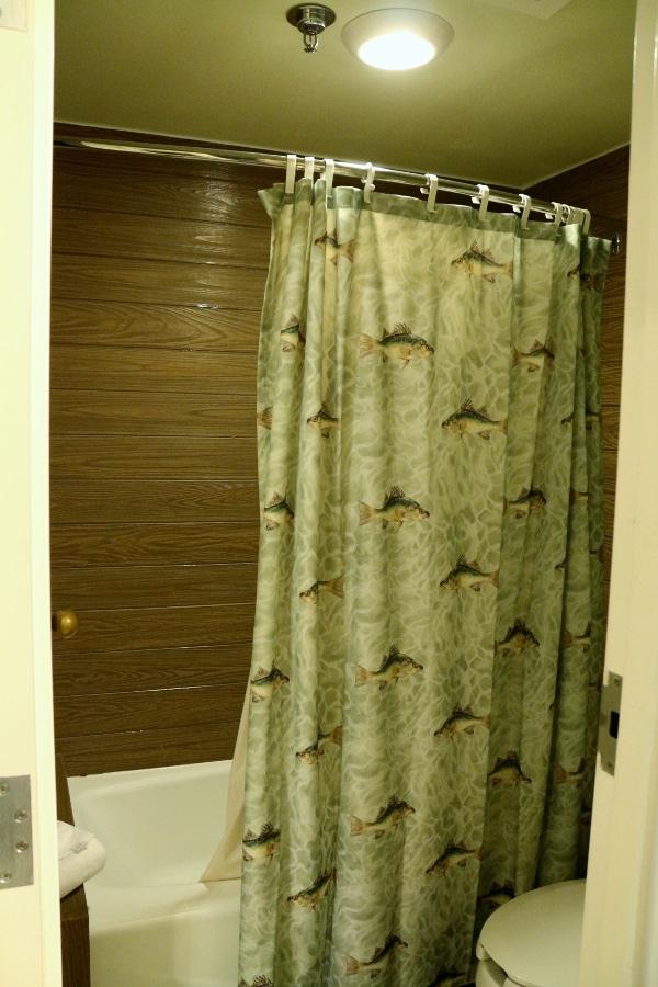A shower curtain with images of fishes on it