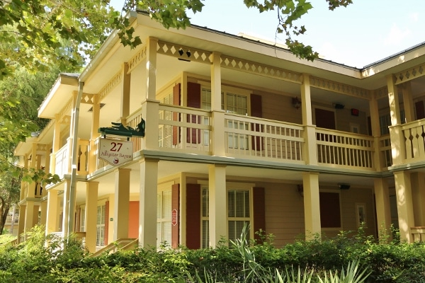 a closeup of a building in the Alligator Bayou section of Disney\'s Port Orleans Riverside Resort