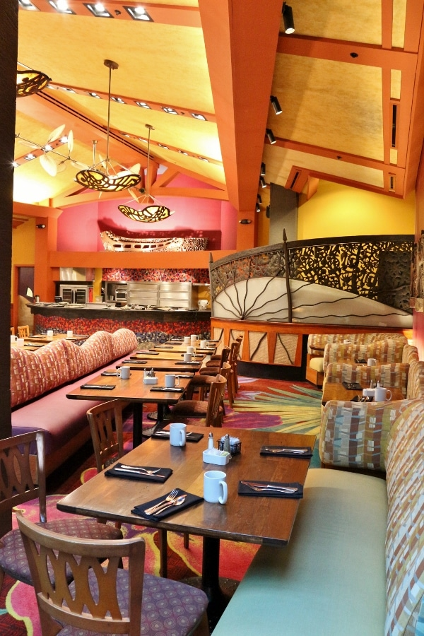 another view of the Kona Cafe dining room with brightly colored walls and furniture