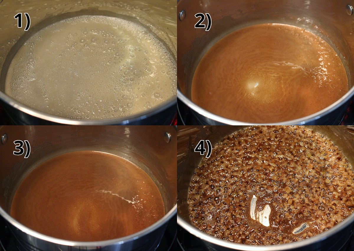 step by step photos of making a brown roux and cooking onions in it