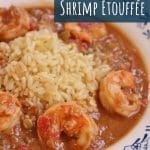 closeup of a shallow white bowl filled with white rice and shrimp etouffee