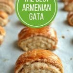 Armenian gata pastries on a baking sheet