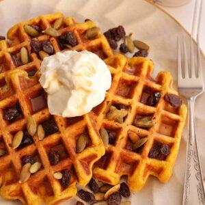 A closeup of 3 square pumpkin spice waffles topped with sour cream, raisins, and pepitas.