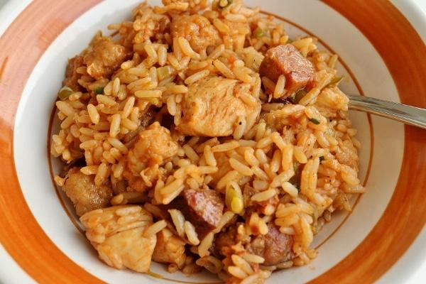 closeup of a bowl of jambalaya with chicken and sausage