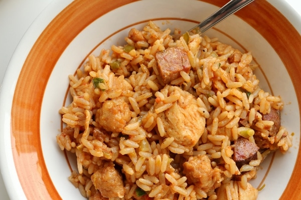 A bowl of jambalaya with chicken and sausage