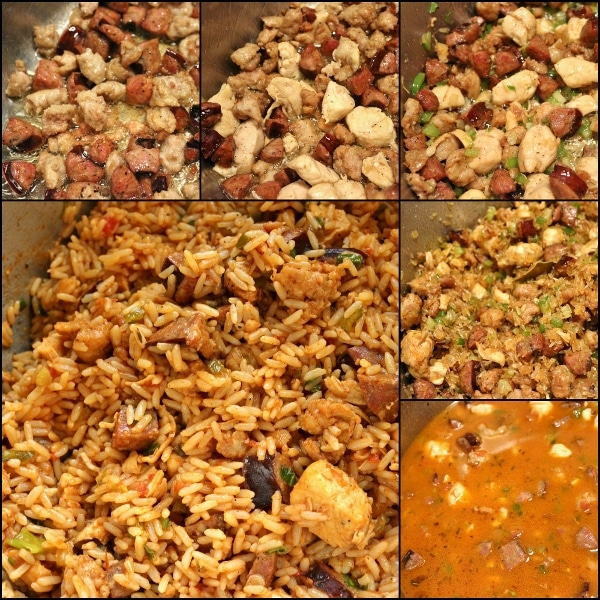 step by step photos of making jambalaya with chicken and sausage