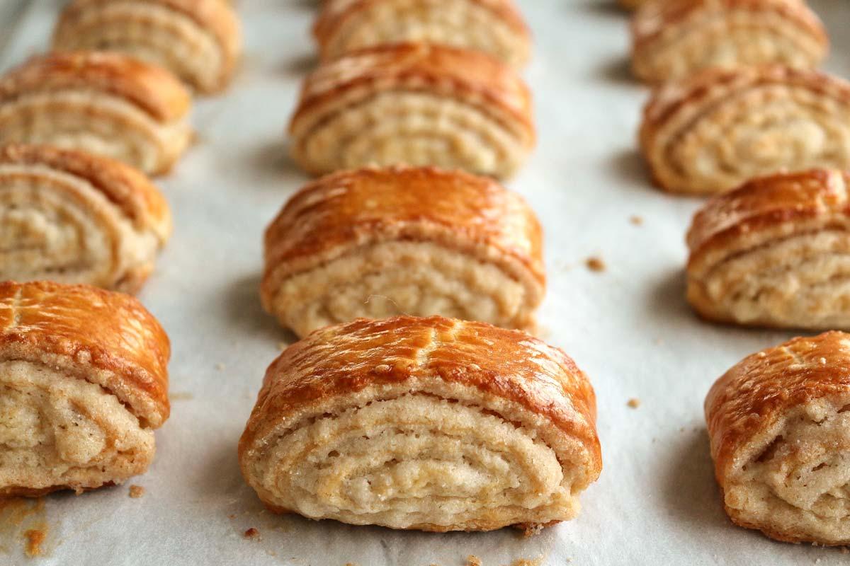 A tray of baked Armenian gata pastries.