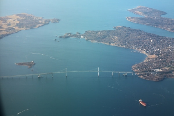 view of the Newport Bridge in Rhode Island from an airplane