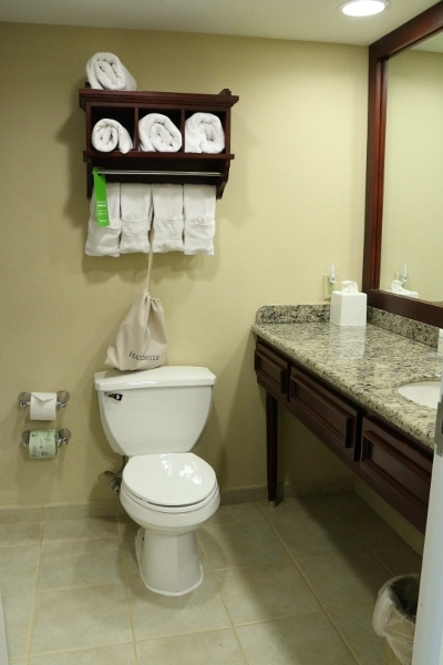 A hotel bathroom with a toilet and sink