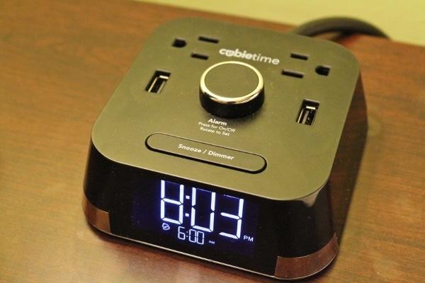 An alarm clock with USB ports
