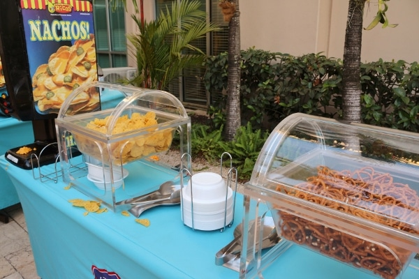 a buffet of snacks like chips and pretzels