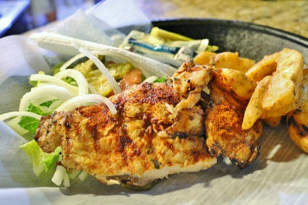 grilled chicken with potatoes wedges and salad on a plate