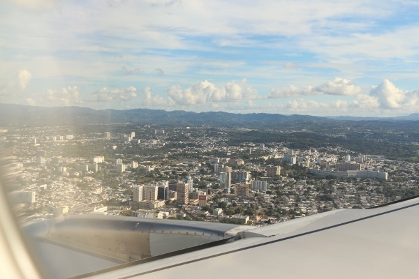 A view of San Juan, Puerto Rico from an airplane