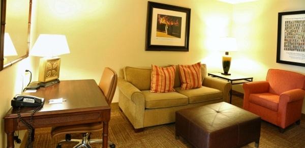 A living room area inside a hotel room