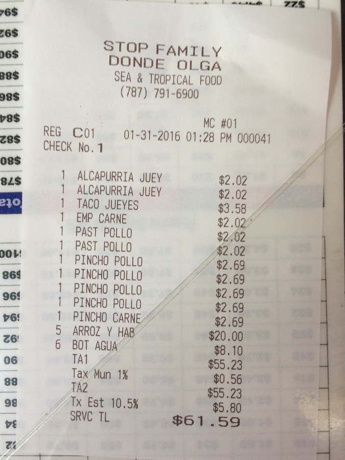 A close up of the food receipt