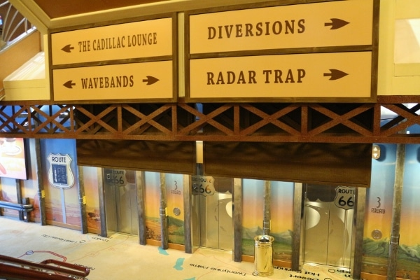 signs inside the bar area of the Disney Wonder cruise ship