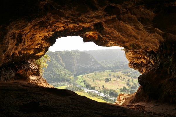 view out of the window cave in Puerto Rico