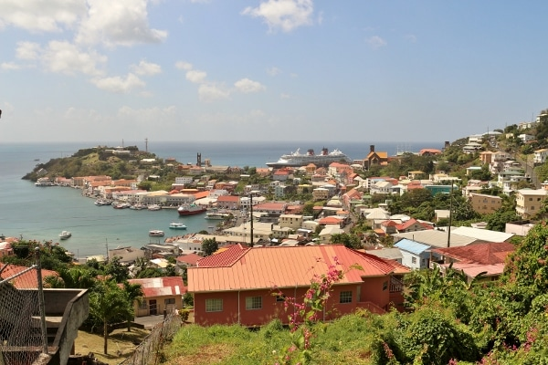 view of a Disney cruise ship beyond the city of St. George\'s, Grenada