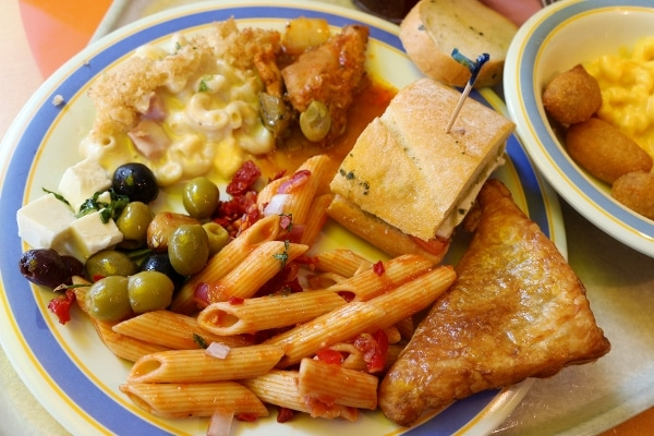 A plate of food from a lunch buffet