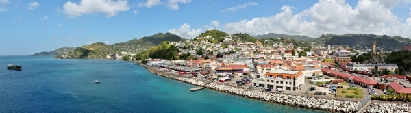 a panoramic view from a cruise ship of St. George\'s, Grenada