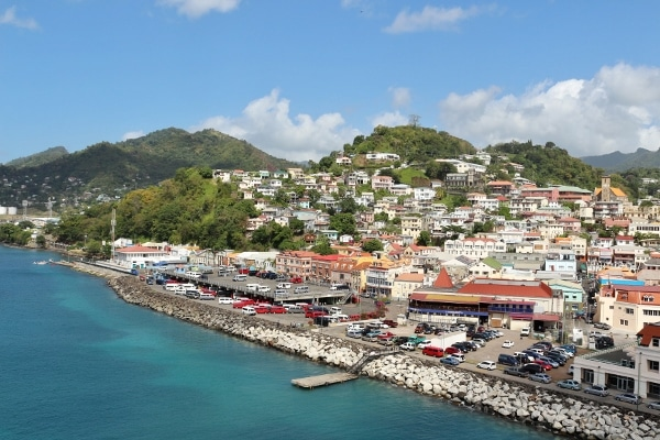 view of the port area of St. George\'s, Grenada