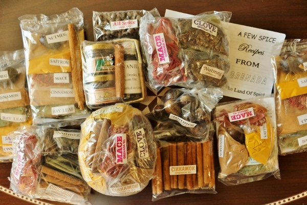 A variety of packaged spices on a table