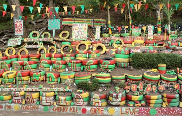 colorful painted tires with words painted on them