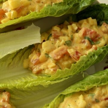 A close up of a romaine lettuce cup with curried tomato salad