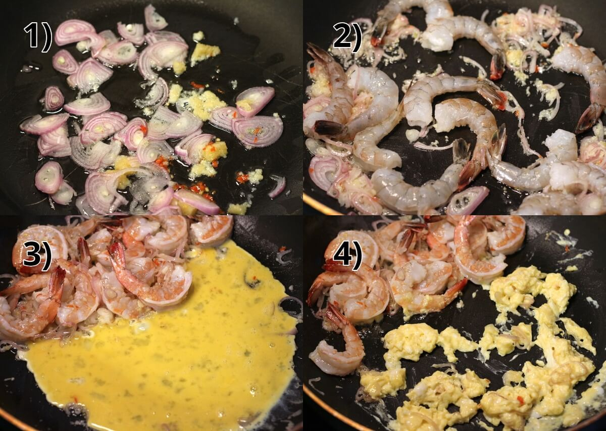 step by step photos of stir-frying shrimp and eggs in a wok