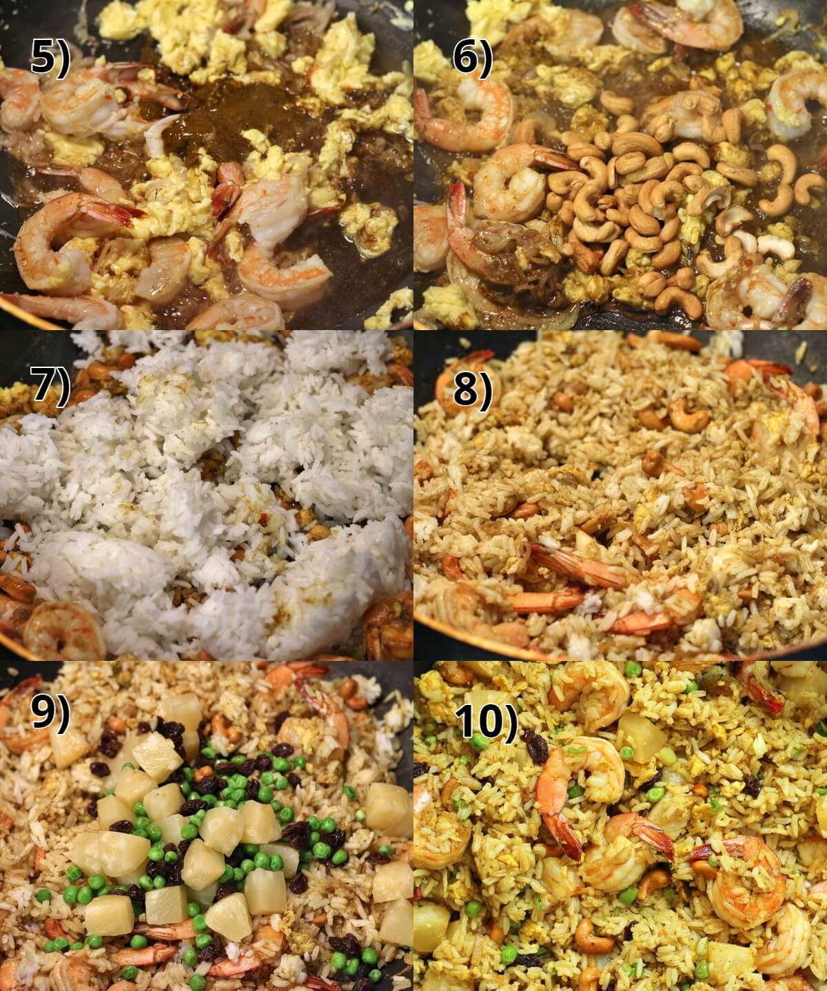 step by step photos of making Thai pineapple fried rice in a wok