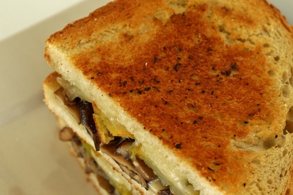 a closeup of the crispy golden brown crust on a grilled cheese sandwich