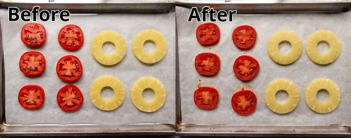 Before and after photos of roasting tomato and pineapple slices on a sheet pan.