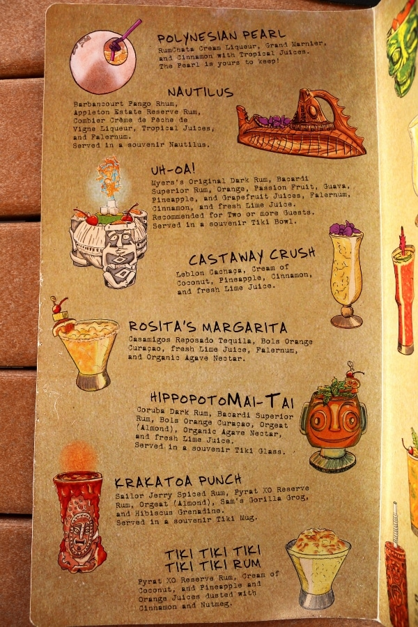 a page from a tiki bar menu