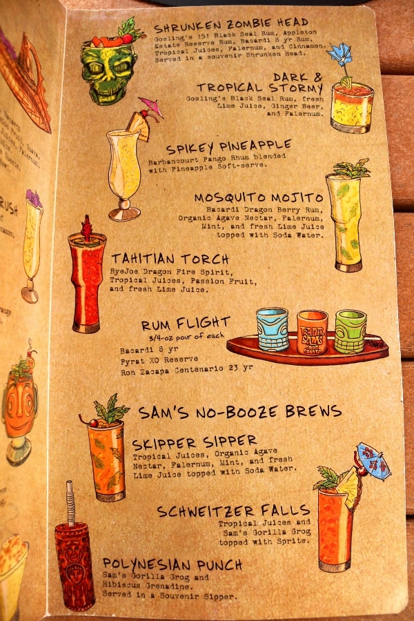 another page from a tiki bar menu