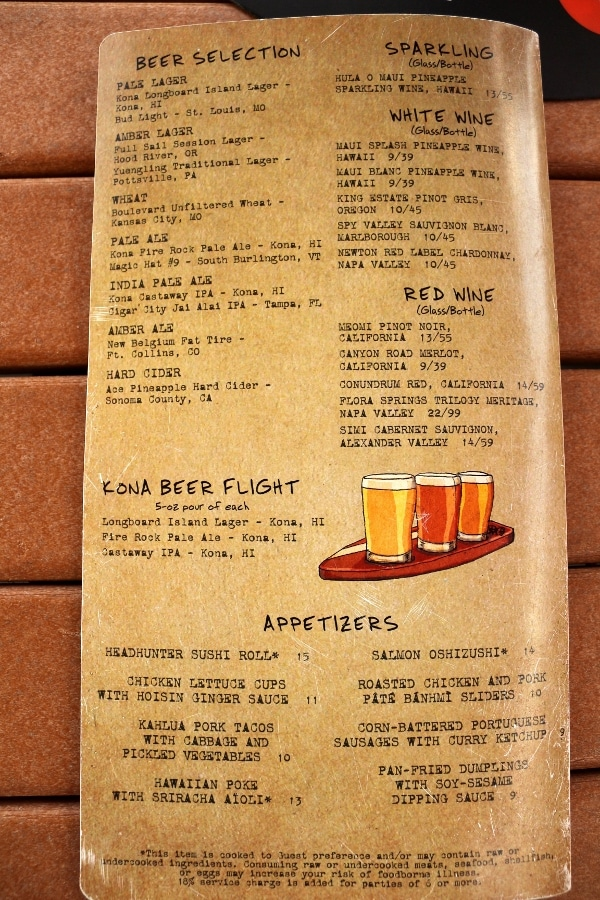 a drink and appetizers menu